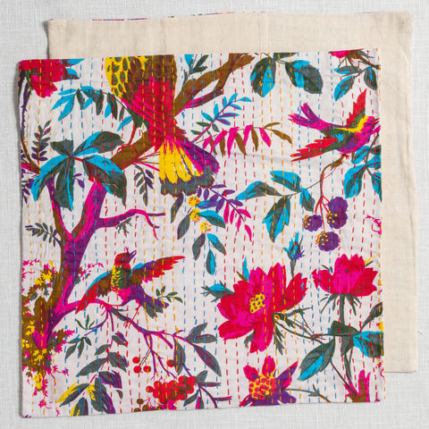 100% Cotton Cushion Covers from Jaipur-White with Birds