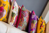 100% Cotton Cushion Covers from Jaipur-White with Birds - Exotic Homewares