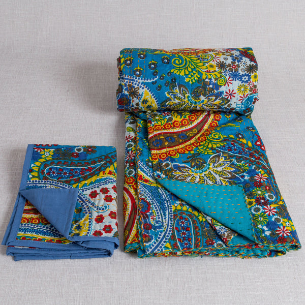 100% Cotton Quilt and 2 matching pillow cases from Jaipur - Blue - Exotic Homewares