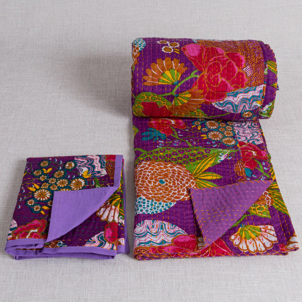 100% Cotton Quilt and 2 matching pillow cases from Jaipur - Purple - Exotic Homewares