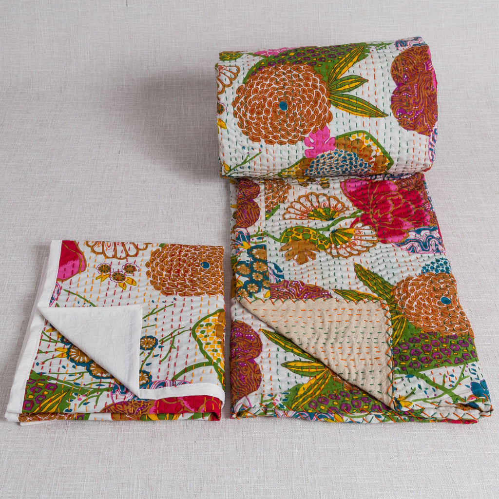 Cotton Quilt and 2 matching pillow cases from Jaipur - White - Exotic Homewares