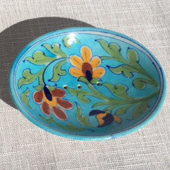 Hand-painted Trinket/ Soap Dish from Jaipur: Light Blue with Flowers - Exotic Homewares