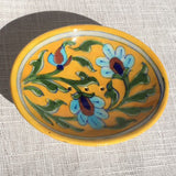 Hand-painted Trinket/ Soap Dish from Jaipur: Yellow 3 Flowers - Exotic Homewares