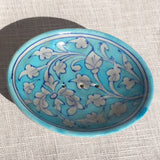 Hand-painted Trinket/ Soap Dish from Jaipur: Light Blue with grey designs - Exotic Homewares