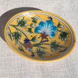 Hand-painted Trinket/ Soap Dish from Jaipur: Yellow 1 Flower - Exotic Homewares