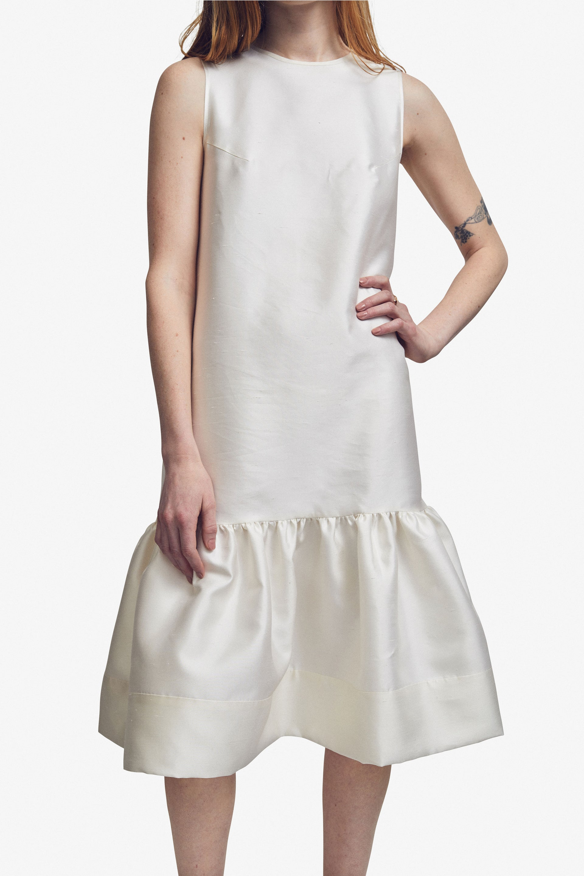 Silk Shantung Drop-Waist Dress