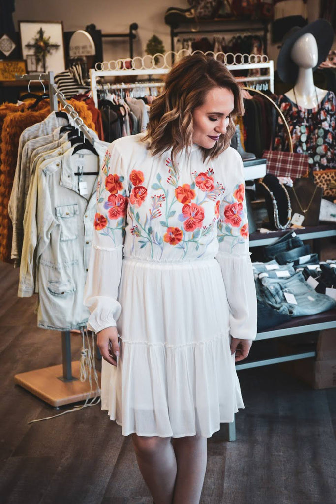 Embroidered peasant dress - Adorn Boutique in Mitchell