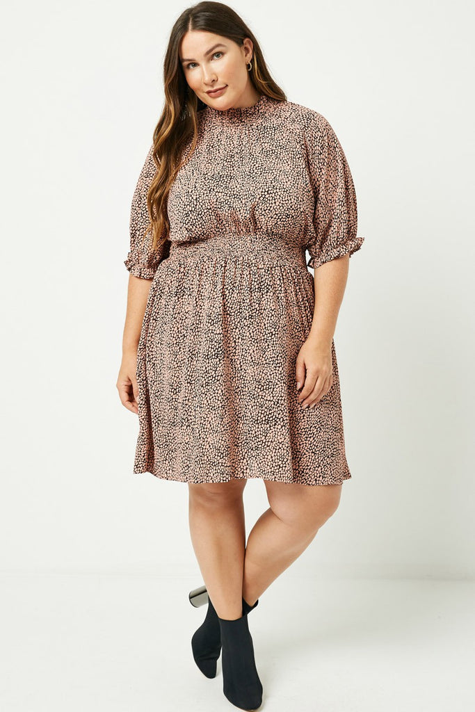 (PLUS) Dotted Smock Dress