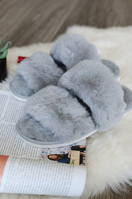 Double Band Faux Fur Slipper - Adorn Boutique in Mitchell