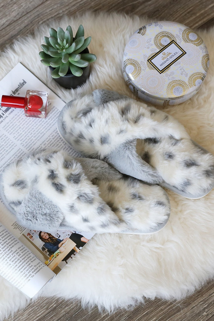 Animal Faux Fur Slippers - Adorn Boutique in Mitchell