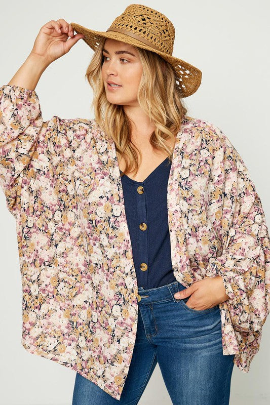 (PLUS) Floral Kimono - Adorn Boutique in Mitchell