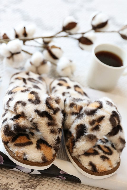 Cheetah Faux Fur Slippers - Adorn Boutique in Mitchell