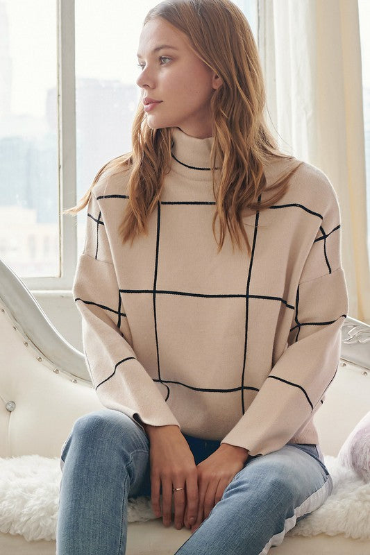 Grid Turtle Neck Sweater - Adorn Boutique in Mitchell