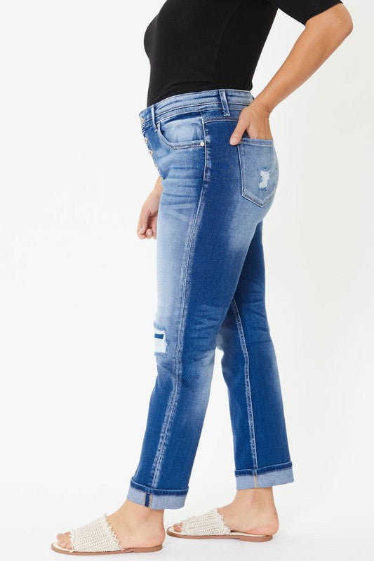 (Plus) Cuffed Hem Jeans - Adorn Boutique in Mitchell