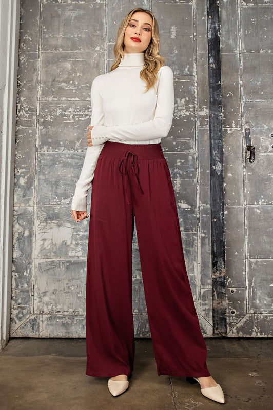 Smocked Wide Leg Pant - Adorn Boutique in Mitchell