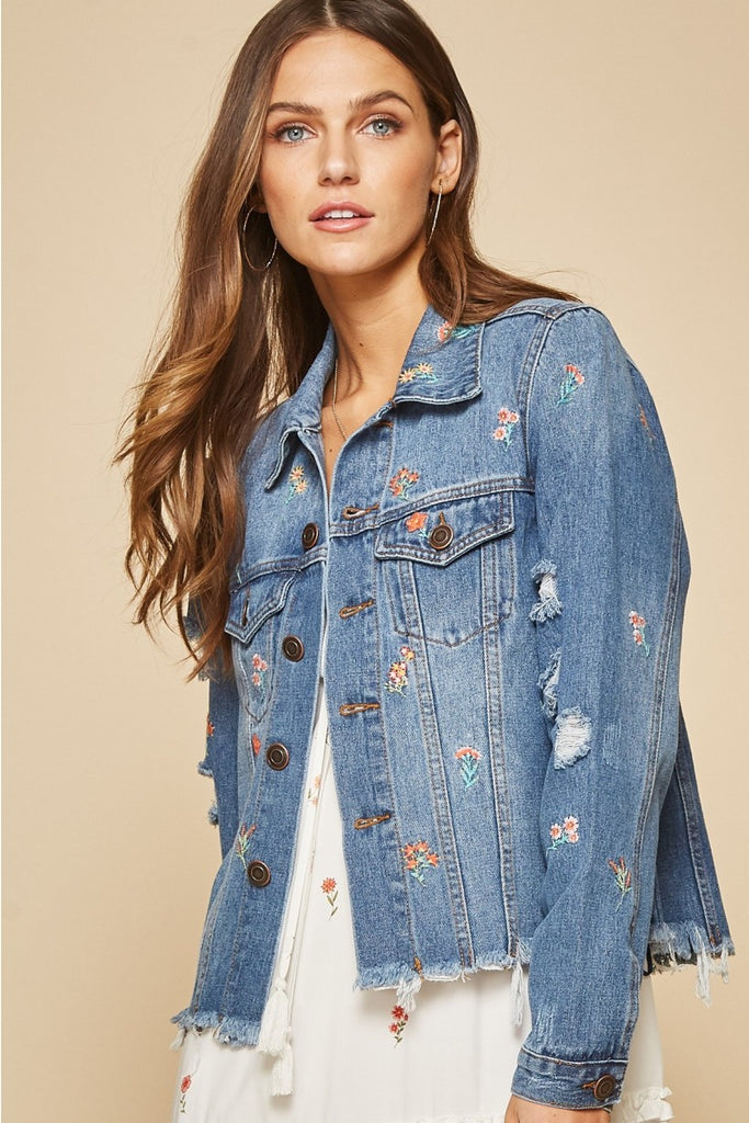 Distressed and embroidered denim jacket - Adorn Boutique in Mitchell