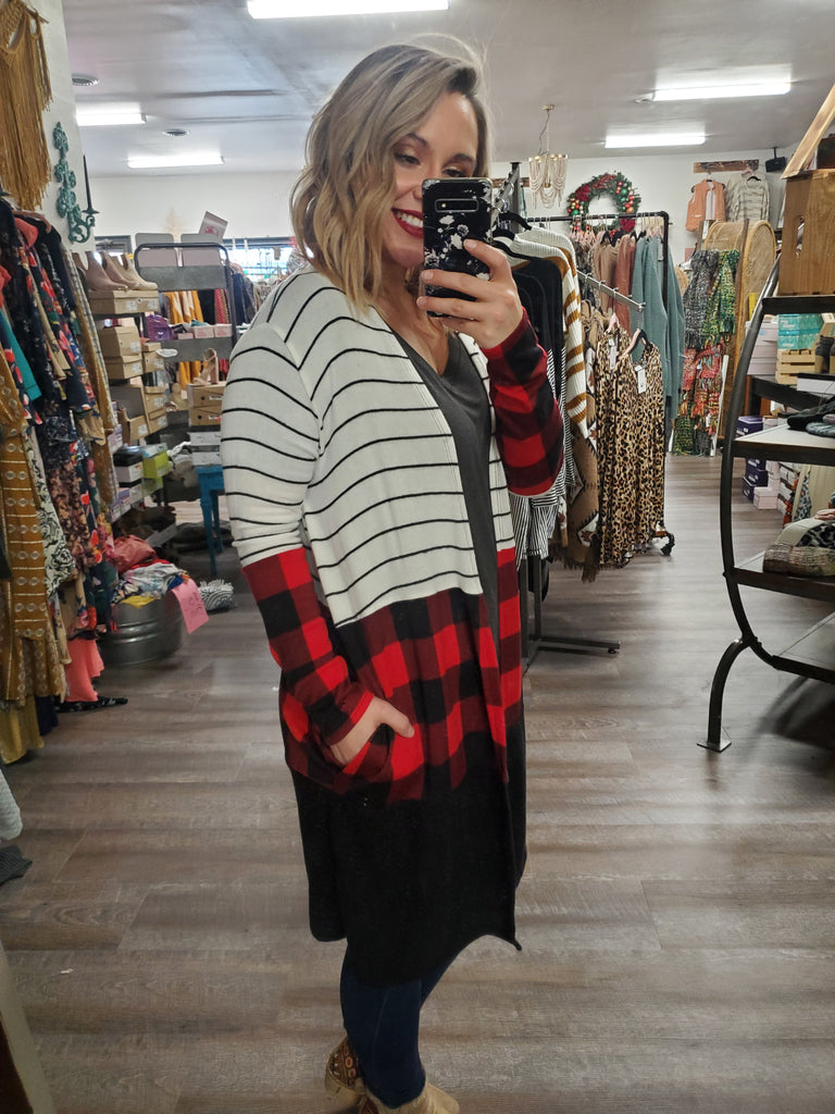 (PLUS Available) Stripe and Plaid Long Cardi - Adorn Boutique in Mitchell