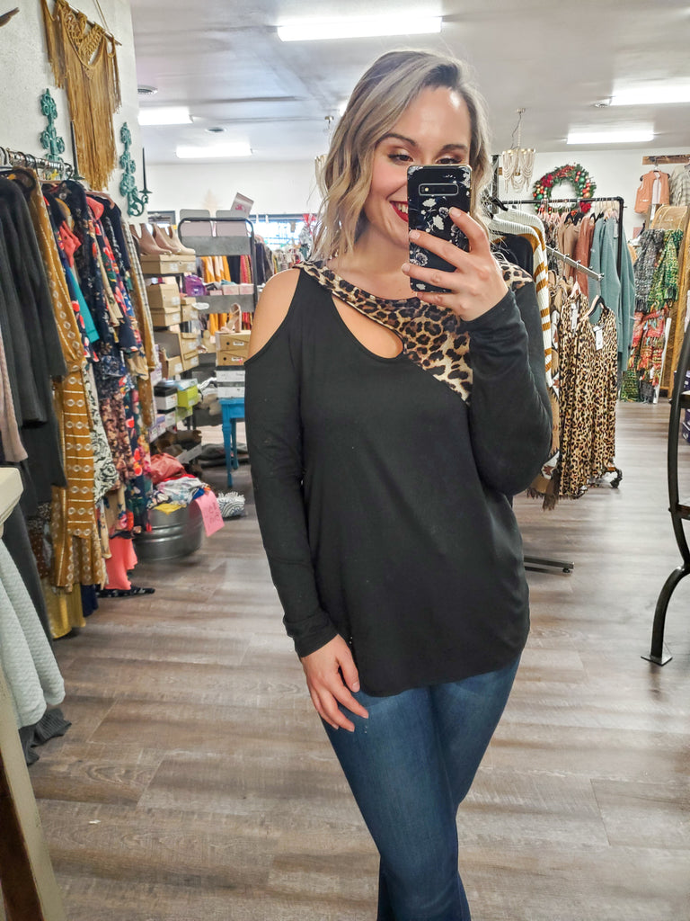 (S-3X) One Shoulder Leopard Top - Adorn Boutique in Mitchell