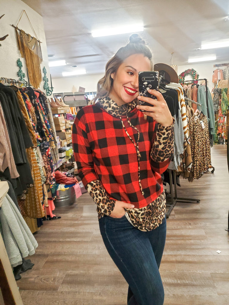 (Plus Available) Plaid and Animal Print Top - Adorn Boutique in Mitchell