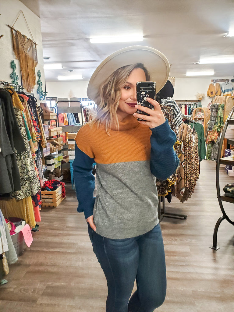 Color Block Turtle Neck - Adorn Boutique in Mitchell
