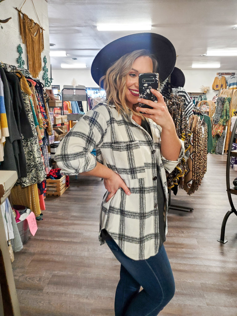 White Flannel Jacket (S-XL) - Adorn Boutique in Mitchell