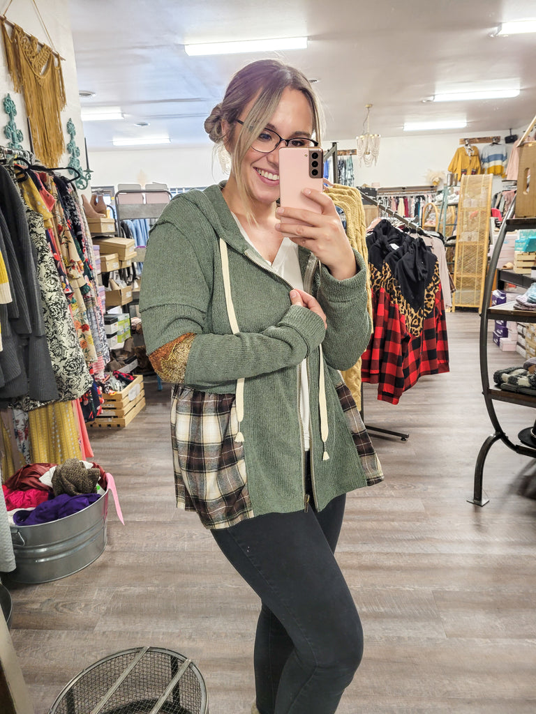 Boho Sleeve Zip Up Jacket - Adorn Boutique in Mitchell