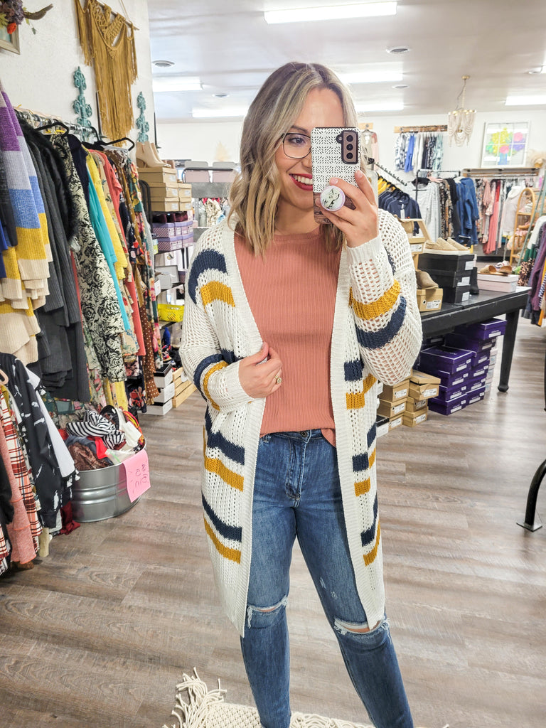 Double Stripe Fishnet Cardi - Adorn Boutique in Mitchell