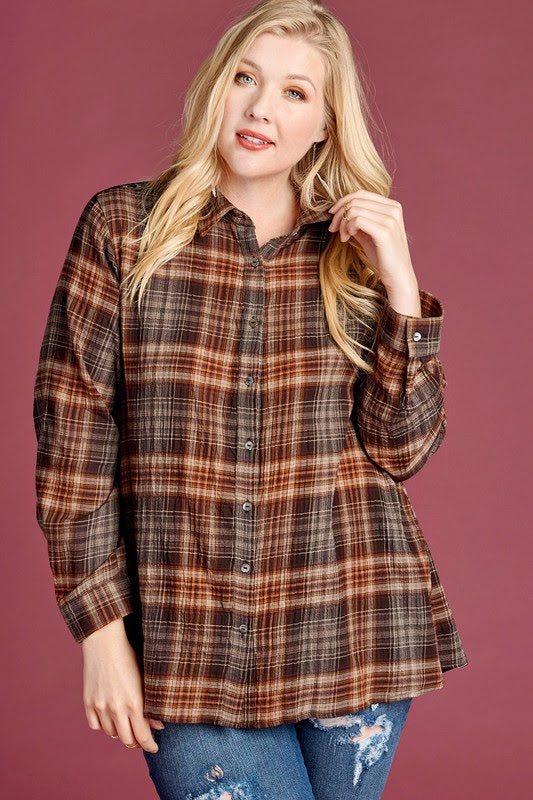 Plaid and Velvet Button Down (Curvy Collection Exclusive!) - Adorn Boutique in Mitchell
