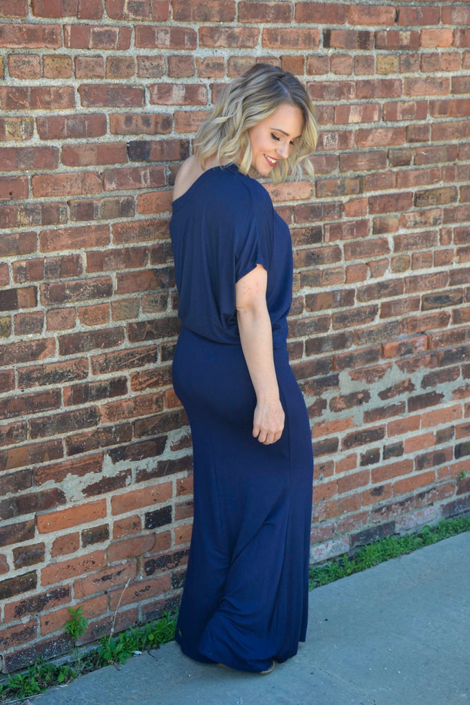 Draped off shoulder maxi - Adorn Boutique in Mitchell