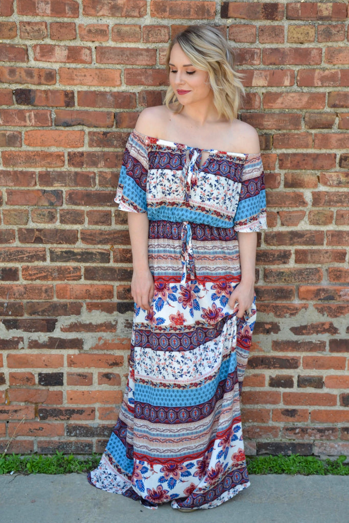 Off Shoulder Maxi - Adorn Boutique in Mitchell