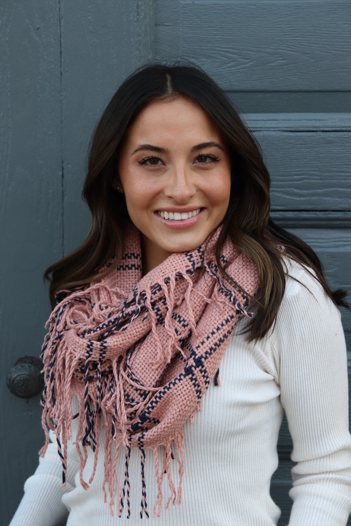 Plaid Fringe Infinity Scarf - Adorn Boutique in Mitchell
