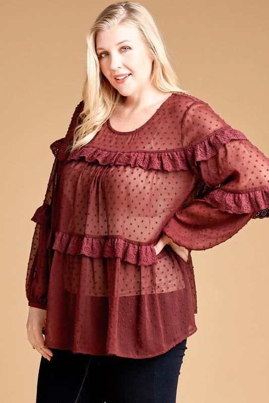 Sheer Chiffon Blouse - Adorn Boutique in Mitchell