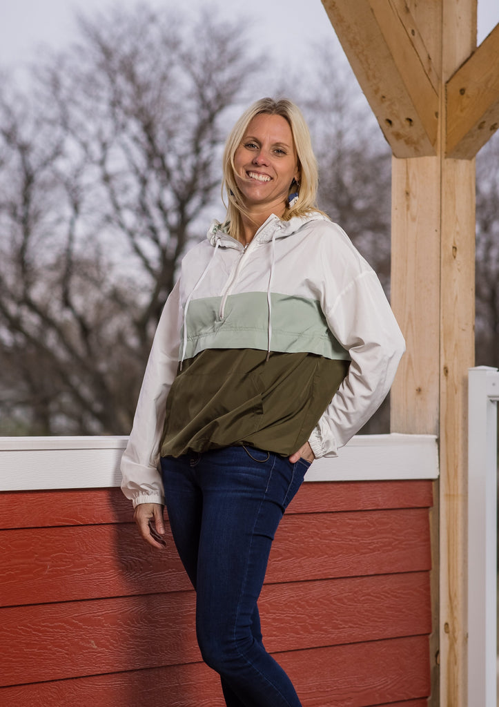 Olive Combo Wind Breaker - Adorn Boutique in Mitchell
