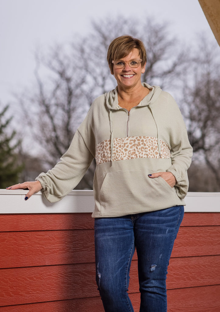 Leopard Stripe Pullover - Adorn Boutique in Mitchell