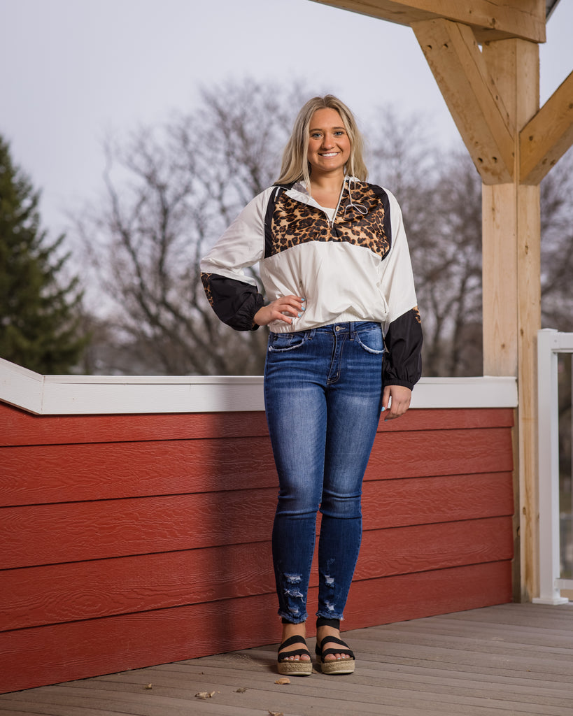 Leopard Block Pullover - Adorn Boutique in Mitchell