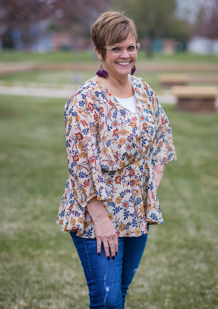 Floral Peplum top - Adorn Boutique in Mitchell