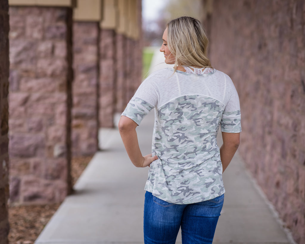 Dusty Camo Football Tee - Adorn Boutique in Mitchell
