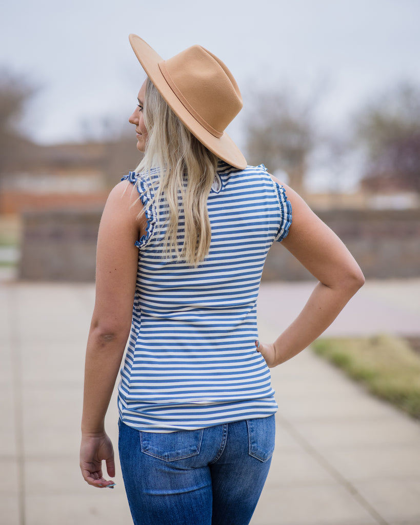 Ruffle Hem Stripe Tank - Adorn Boutique in Mitchell
