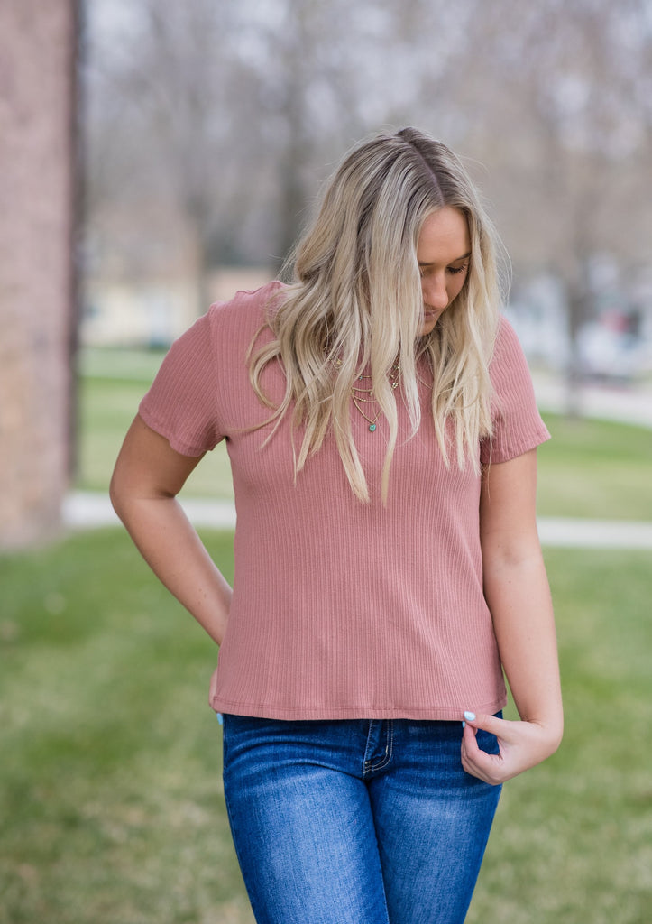 Ribbed Tee - Adorn Boutique in Mitchell