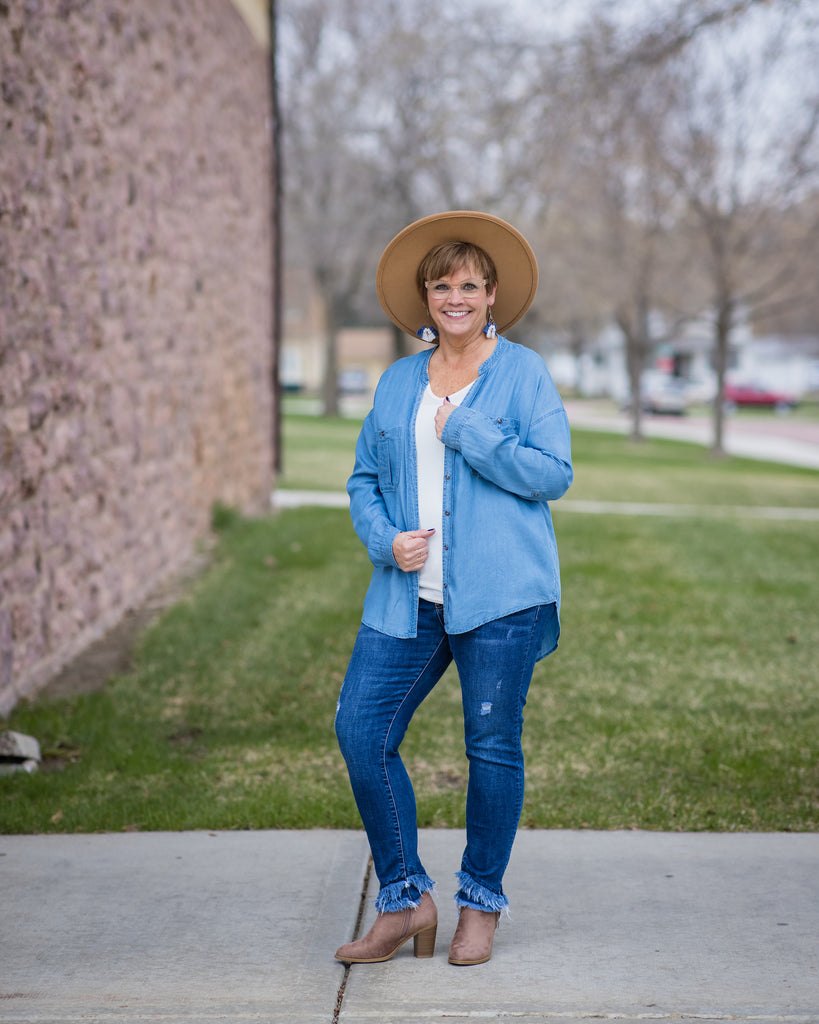 Denim Button Up - Adorn Boutique in Mitchell