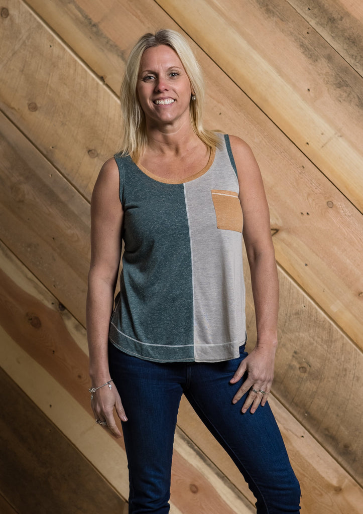 Color Block Tank - Adorn Boutique in Mitchell