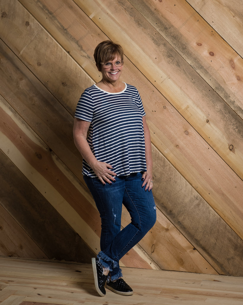 Stripe Swing Tee - Adorn Boutique in Mitchell