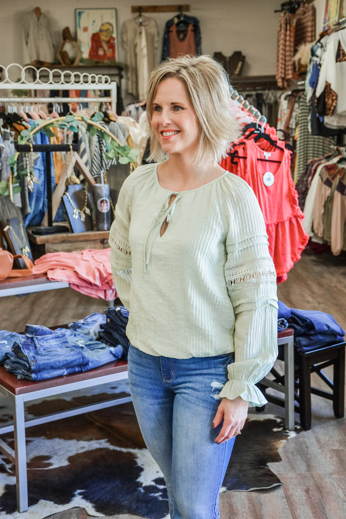 Sage Peasant Blouse - Adorn Boutique in Mitchell