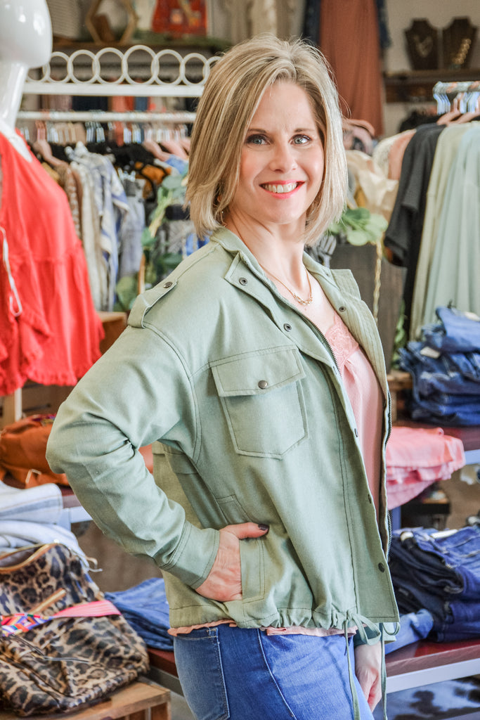 Light Olive Cargo Jacket - Adorn Boutique in Mitchell