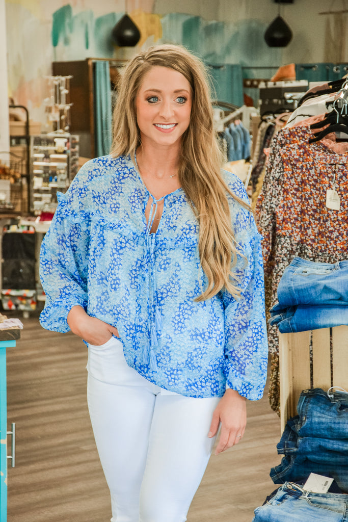 Spotted Print Blouse (S-2X) - Adorn Boutique in Mitchell