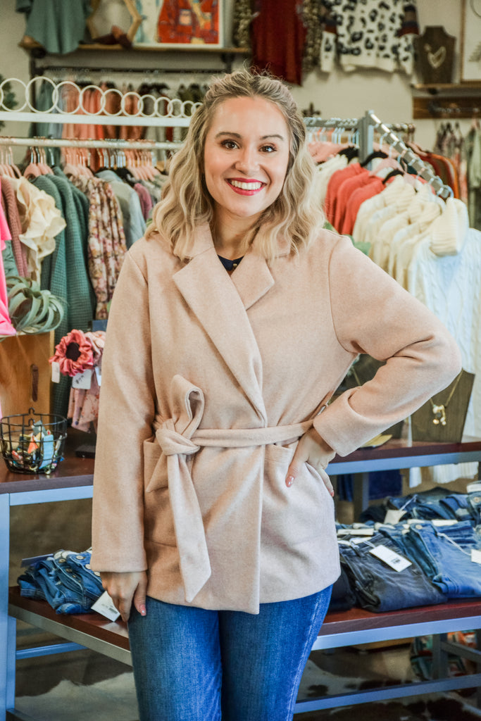 (S-XL) Belted Fleece Coat - Adorn Boutique in Mitchell