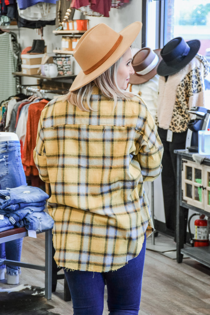 Raw Edge Plaid Button Up - Adorn Boutique in Mitchell