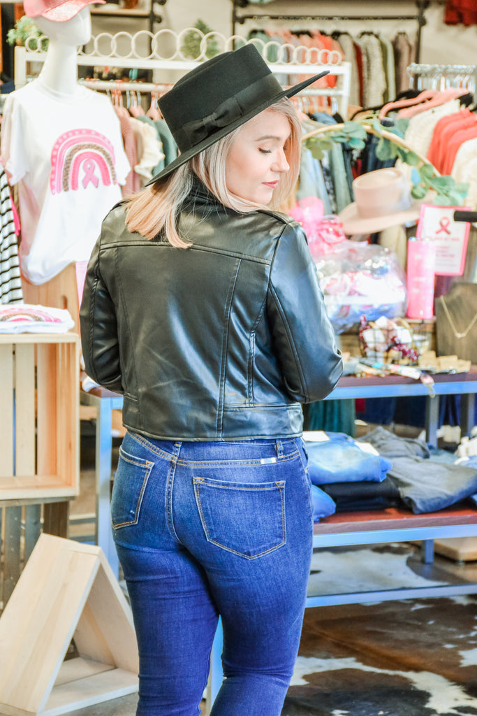Faux Leather Moto Jacket - Adorn Boutique in Mitchell