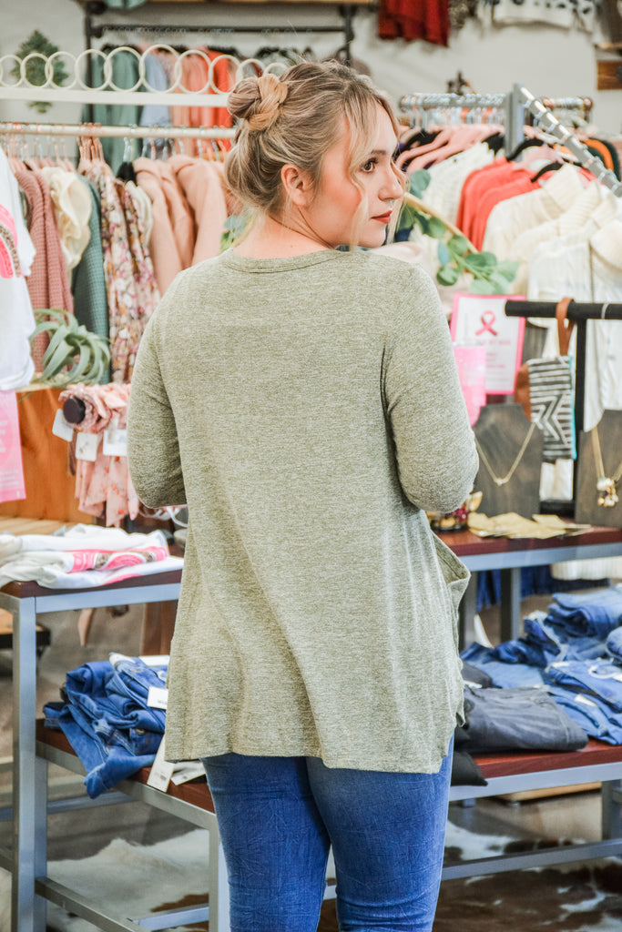 Olive pocket top - Adorn Boutique in Mitchell