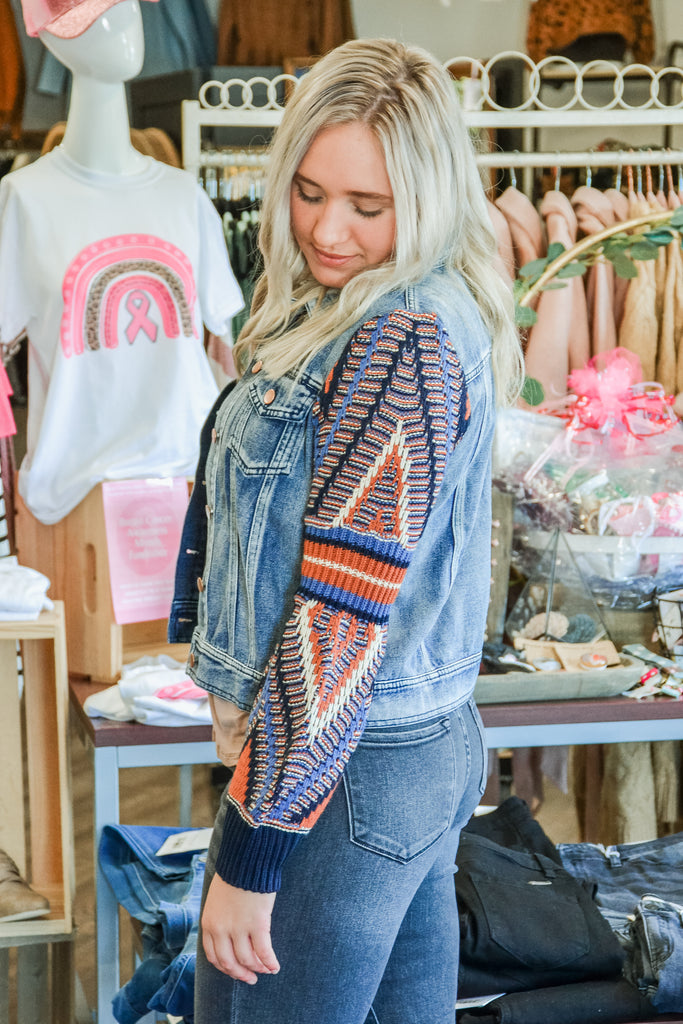 Patterned Sleeve Denim Jacket - Adorn Boutique in Mitchell
